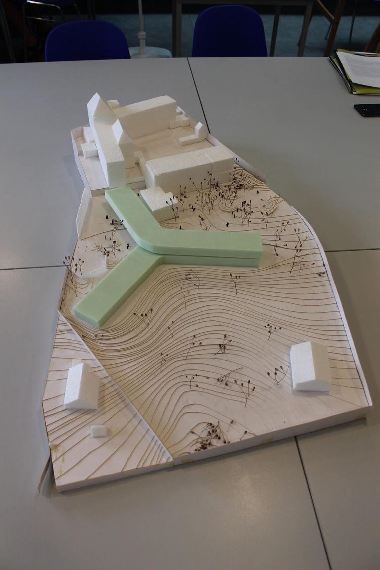 Een maquette van de nieuwe campus (groen), waar 38 zorgbehoevenden kunnen verblijven.