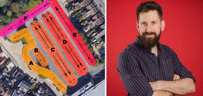 Gareth Wild et le plan du parking de son supermarché