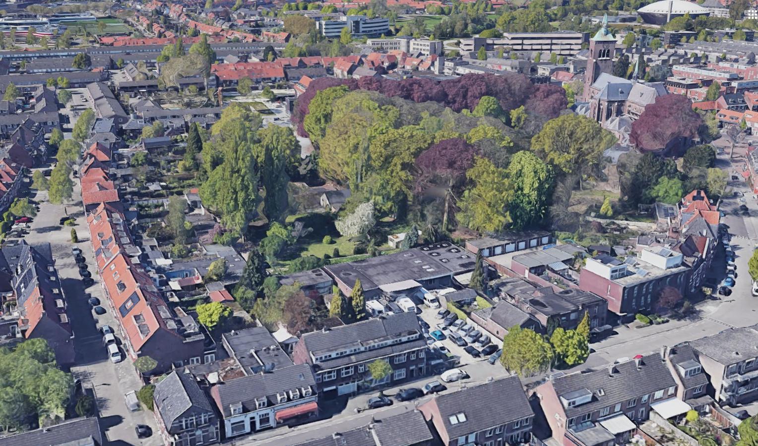 De Strijpsestraat in Eindhoven (voorgrond). Op de locatie van autobedrijf Van der Wiel is een plan gemaakt voor onder andere studentenhuisvesting.