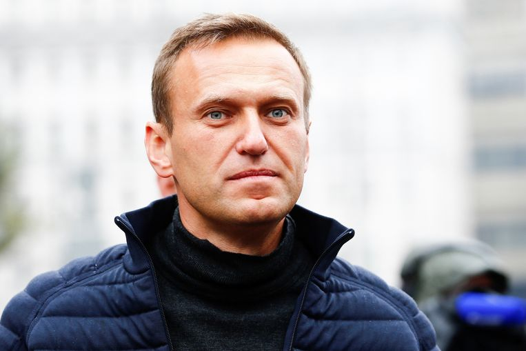 Alexei Navalny bij een demonstratie in Moskou in september 2019. Beeld Getty Images