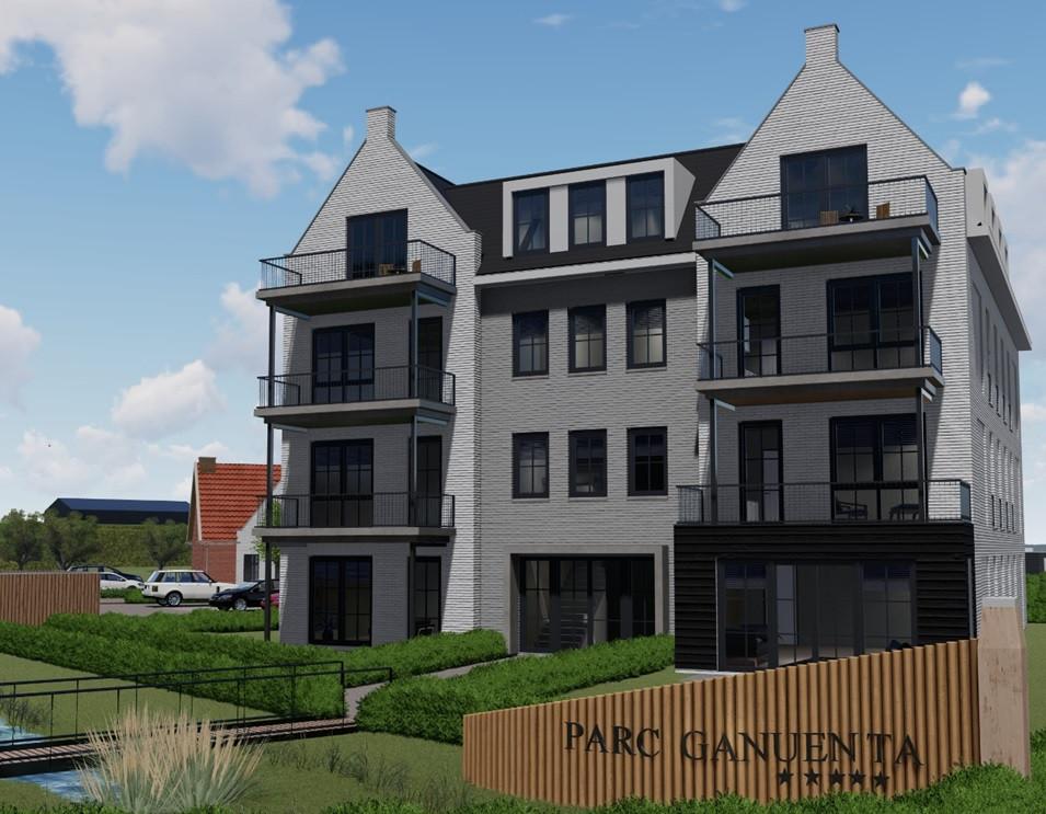 Behalve het Poorthuis (illustratie) met twaalf appartementen komen er ook nog tien vrijstaande woningen bij op het middenterrein van Parc Ganuenta.