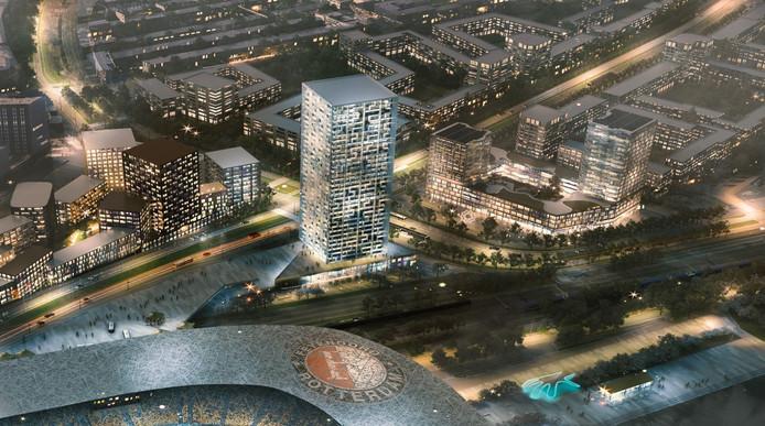 Een stukje Feyenoord City, met op de voorgrond het nieuwe stadion.