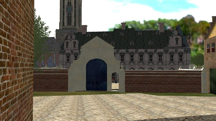 Zicht op het verdwenen Koningshuis en de Cunerakerk op de achtergrond.
