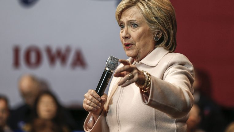 Hillary Clinton voert campagne in Iowa. Beeld epa