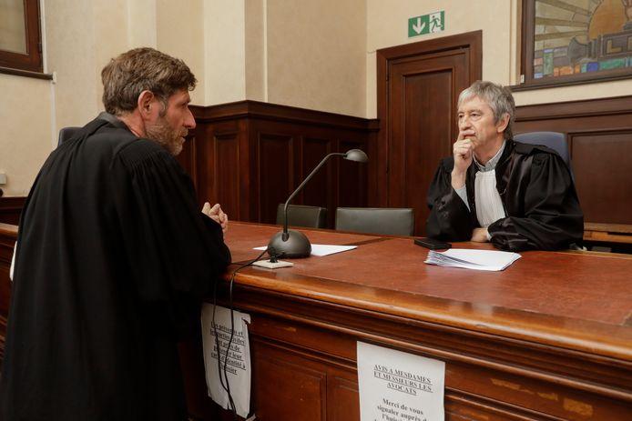 L'avocat de Dutroux, Me Dayez, avec le juge du TAP Jean-François Funck.