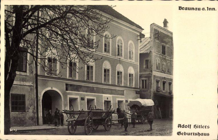 Het geboortehuis van Hitler in Braunau am Inn.  Beeld Hollandse Hoogte / Imago Stock & People GmbH