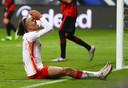 Yussuf Poulsen namens RB Leipzig tegen Eintracht Frankfurt.