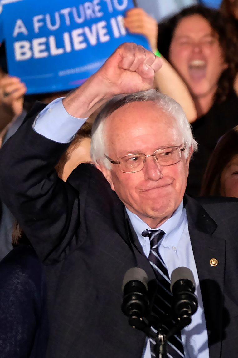 Bernie Sanders wint van Hillary Clinton in New Hampshire. Beeld AP