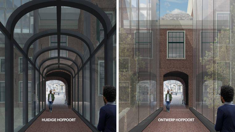 Binnenhof, renovatieplannen van architect Ellen van Loon: Hofpoort. Beeld OMA