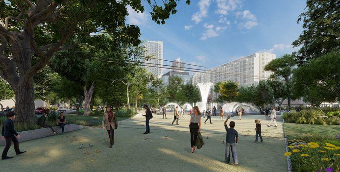 Indruk van hoe het nieuwe Hofplein eruit zou kunnen zien.