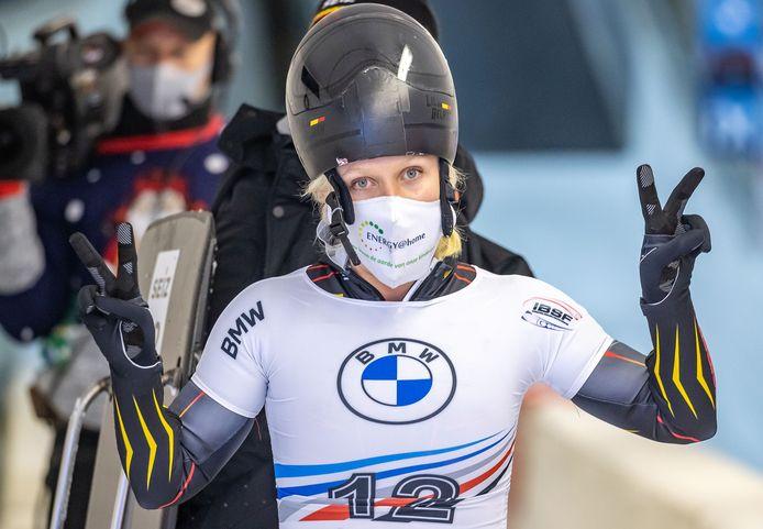 Kim Meylemans na haar wedstrijd in Innsbruck waar ze een elfde en zeventiende plaats pakte.