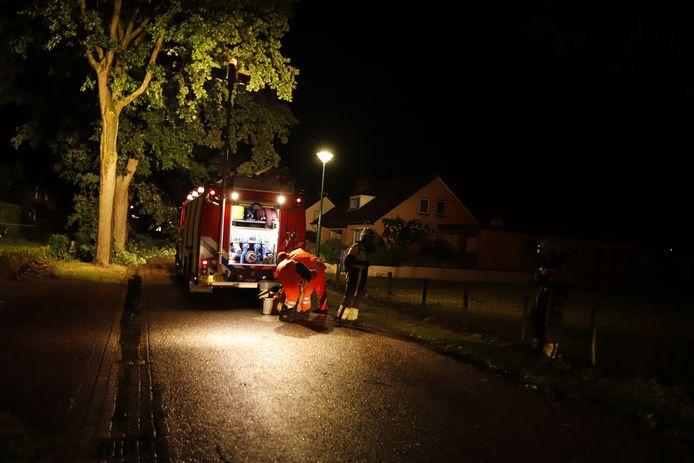 De brandweer in actie in Stevensbeek
