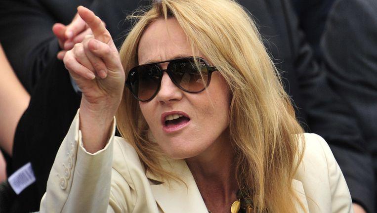 Schrijfster J.K. Rowling op de tribune bij de afgelopen editie van Wimbledon. Beeld AFP