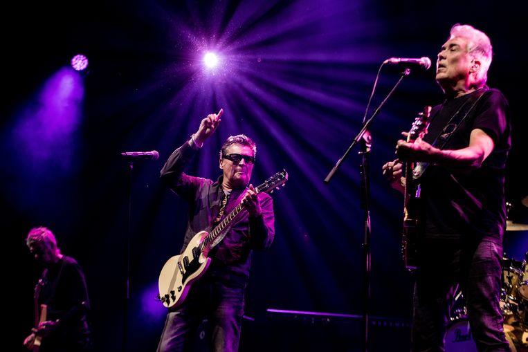 Vlnr: bassist Rinus Gerritsen, zanger Barry Hay en gitarist George Kooymans tijdens een concert in Ahoy in 2019. Beeld ANP Kippa