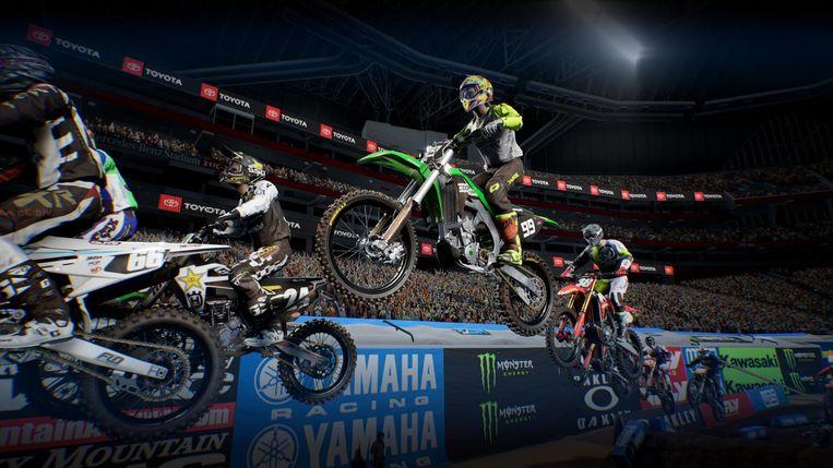De Supercross is een tak van motorsport die voornamelijk in de VS veel publiek trekt dat met zijn neus op iedere smak staat. Beeld Milestone