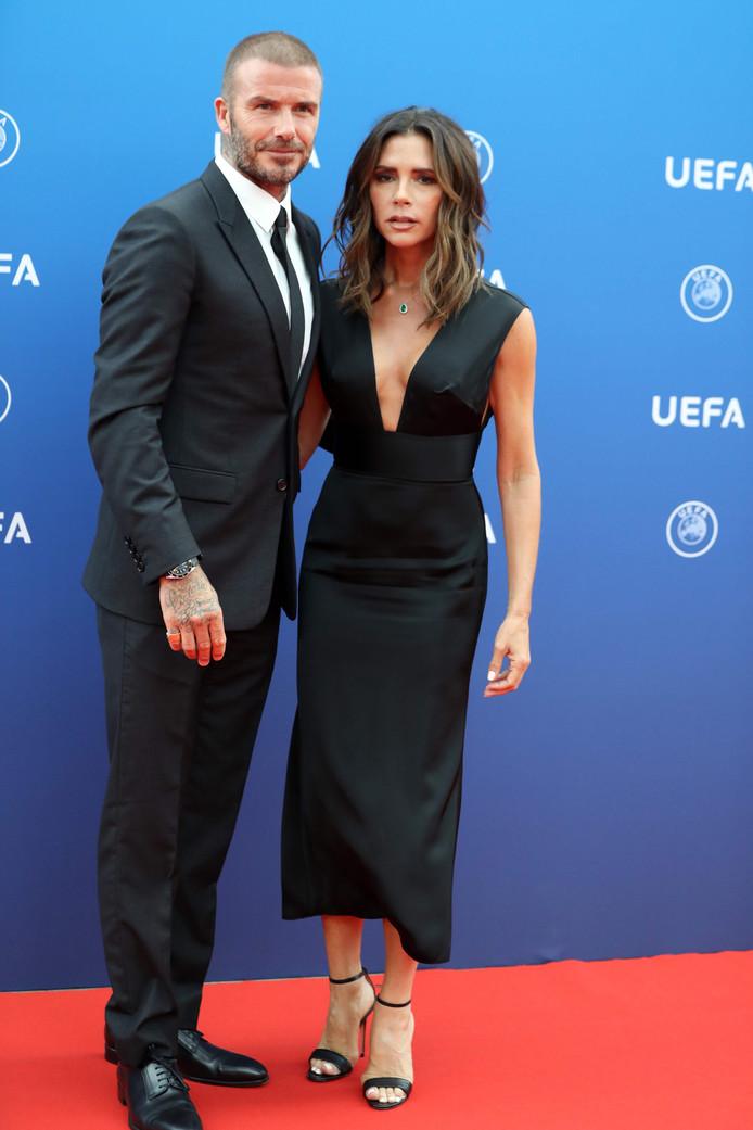 David Beckham en zijn vrouw Victoria arriveert bij het Grimaldi Forum in Monaco.