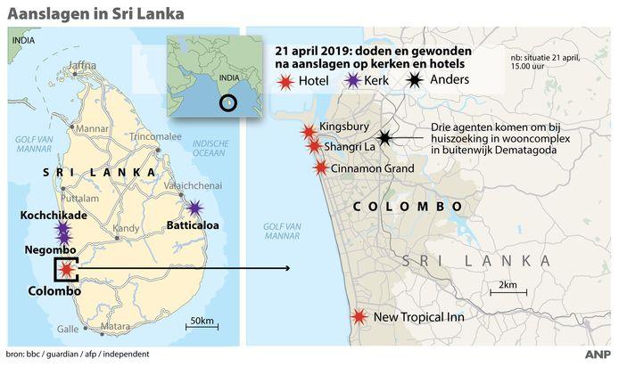 De locaties van de aanslagen op kerken en hotels in Sri Lanka.