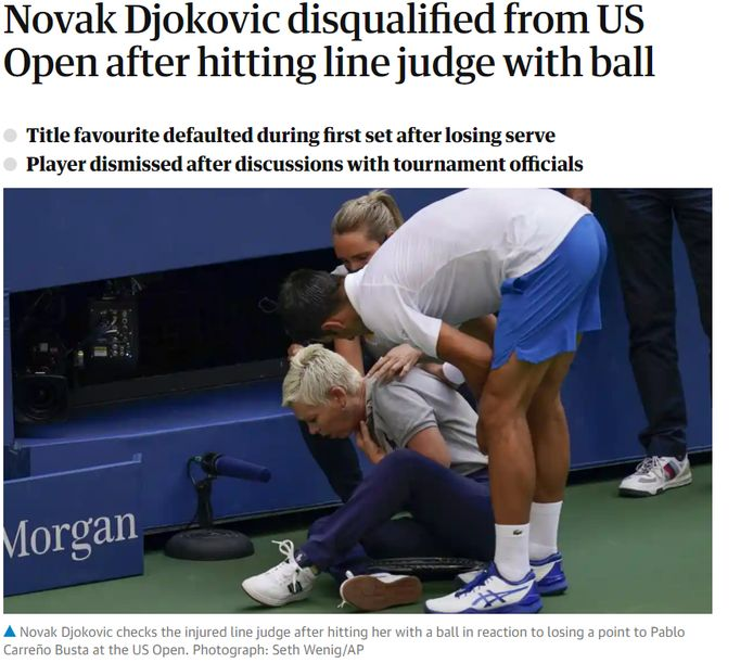 'The Guardian' over Djokovic.