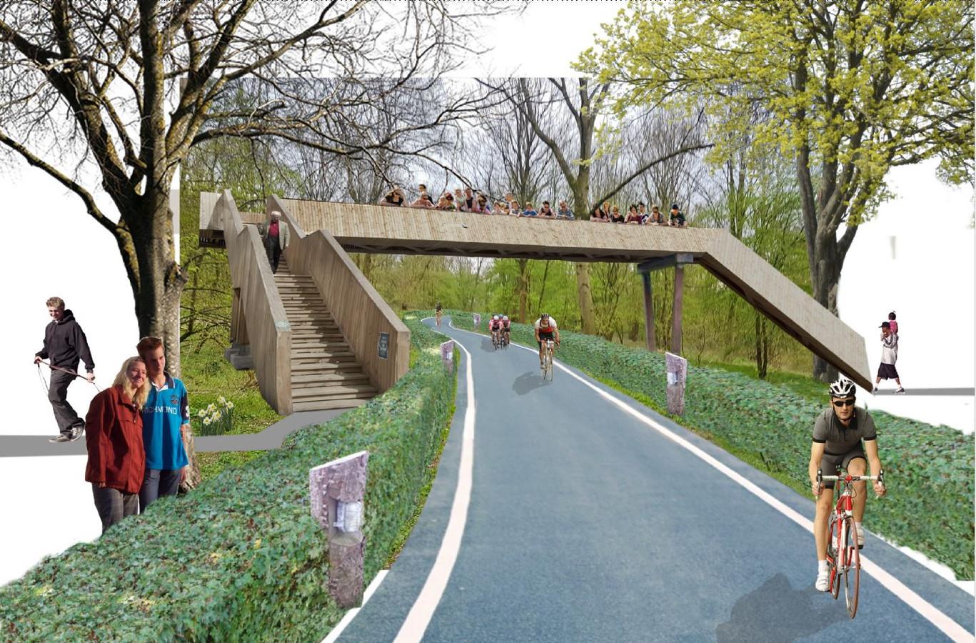 Toekomstbeeld van het Kanaalpark: een wielerparcours met vier bruggen om wandelaars te laten oversteken.