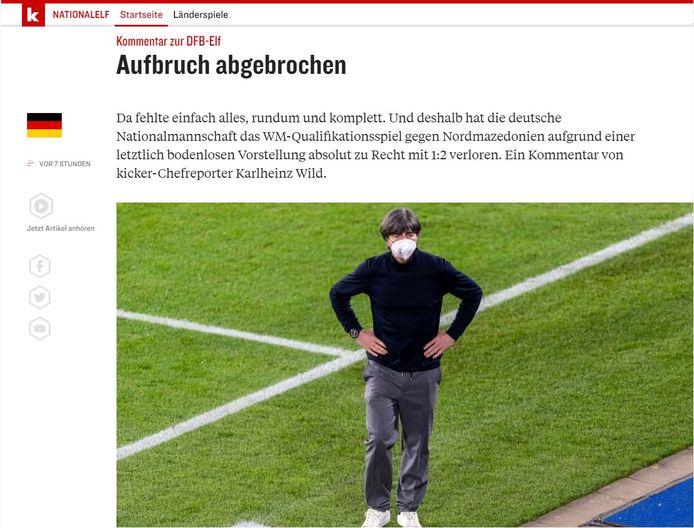 Ook Kicker is zeer streng voor de Duitse nationale ploeg.