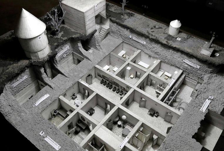 Een schaalmodel van de bunker waar Hitler zelfmoord gepleegd zou hebben. Beeld ap