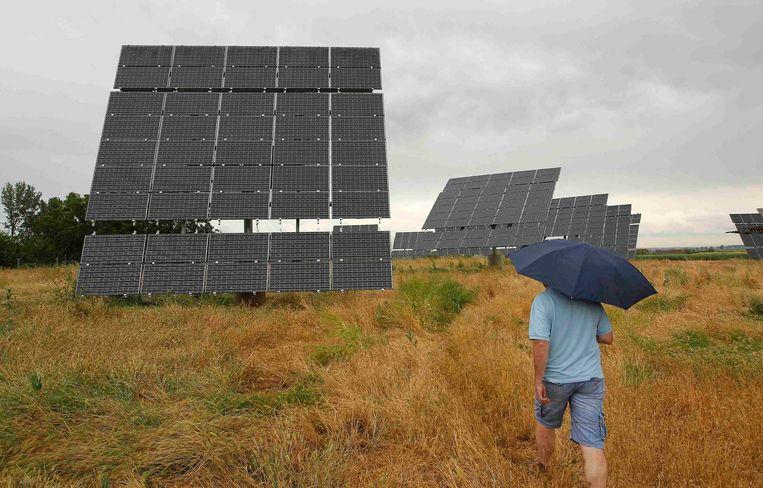 Een 'zonnepanelenboerderij' in Spanje. Meer dan honderd investeringsmaatschappijen vragen banken dat ze meer maatregelen nemen voor het klimaat en de biodiversiteit, rekening houdend met de centrale rol die ze spelen bij het geven van financiering aan projecten. Beeld REUTERS