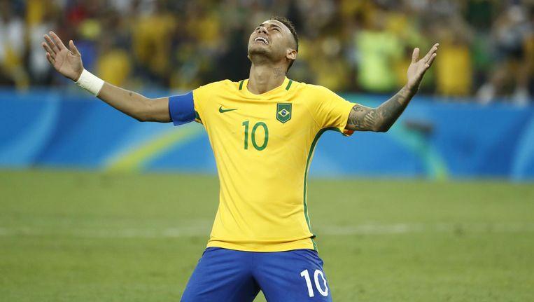 De tranen van Neymar. Beeld afp