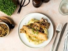 Wat Eten We Vandaag: Tilapiafilet met paddenstoelen en kappertjessalsa