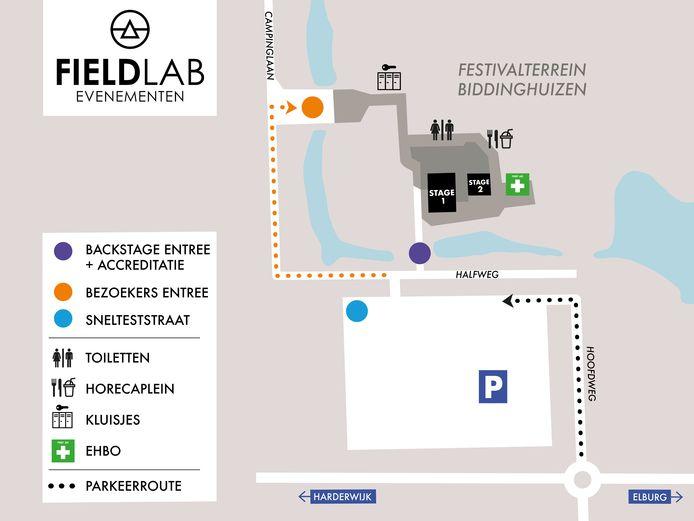 Het evenemententerrein in Biddinghuizen vormt het podium voor twee proeffestivals.
