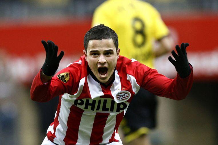 Ibrahim Afellay van PSV schreeuwt het uit van frustratie tijdens de wedstrijd tegen Roda JC in het Parkstad stadion. Foto ANP/Vincent Jannink Beeld