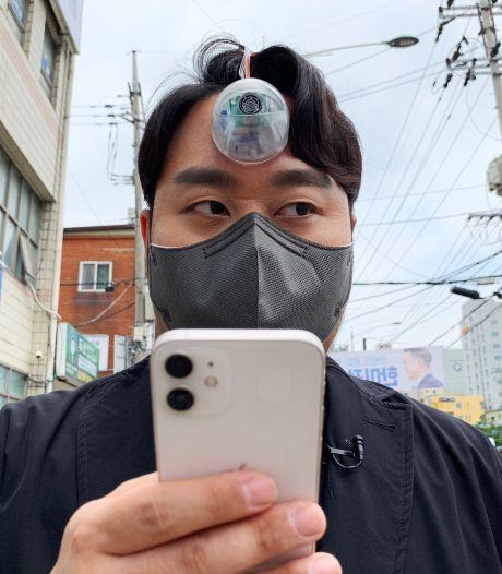 """Un Sud-Coréen invente un """"troisième œil"""" pour prévenir les piétons trop concentrés sur leur smartphone"""