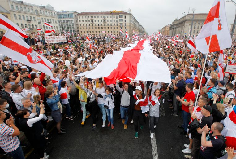 Archiefbeeld. Na de verkiezingen, die als frauduleus worden beschouwd, werden massale protesten gehouden in hoofdstad Minsk. (23/08/2020) Beeld AP