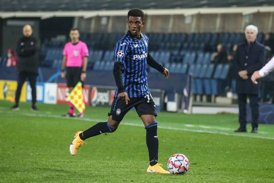 Amad Diallo namens Atalanta in actie tegen FC Midtjylland in de Champions League.