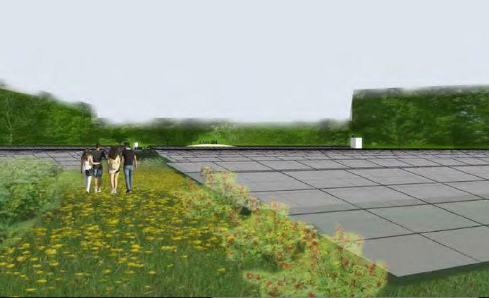 Impressie zoals het zonnepark Zonnewoud in Zeewolde er uit moet komen te zien.