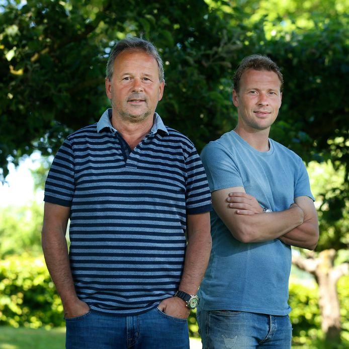 Rick Kruys (r) met vader Gert. Beiden speelden ze voor FC Utrecht.