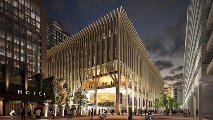Het ontwerp voor het nieuwe cultuurcomplex aan het Spui.