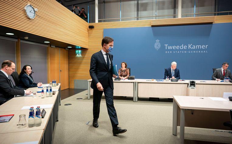 Premier Mark Rutte tijdens het verhoor door de parlementaire enquêtecommissie Kinderopvangtoeslag Beeld Freek van den Bergh / de Volkskrant