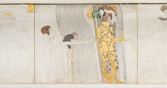 Gustav Klimt, Beethoven-fries, detail rechtermuur (Floating Genii and Poetry), Secession, Wenen.