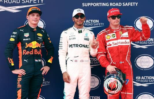 Verstappen met pole-sitter Hamilton en Räikkönen