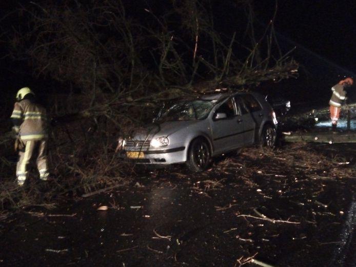De schade aan een auto na de storm, in Berg en Dal