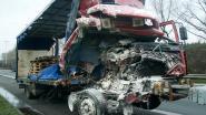 VIDEO. Spectaculair ongeval op E34 in Moerbeke: botsing tussen twee trucks, wit kauwgom poeder en groenten zorgen al zes uur voor hinder