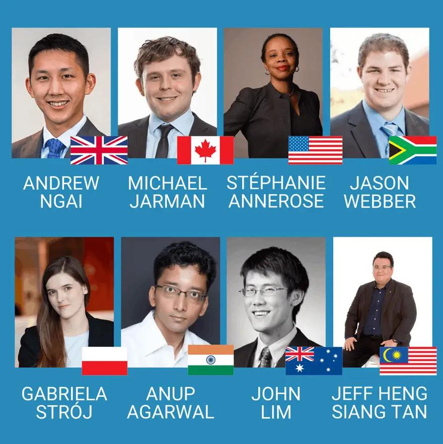 De acht deelnemers die meedoen aan het wereldkampioenschap Microsoft Excel.