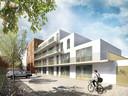 Een impressie van de achterzijde van nieuwbouwproject De Mersjant aan de Koopvaardijstraat, Tilburg. In het definitieve ontwerp loopt het complex trapsgewijs naar beneden zodat bewoners van de achterliggende Clercxstraat geen inkijk in hun achtertuin hebben.