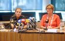 Burgemeester Wobine Buijs tijdens de persconferentie op de dag van het ongeval in Oss.