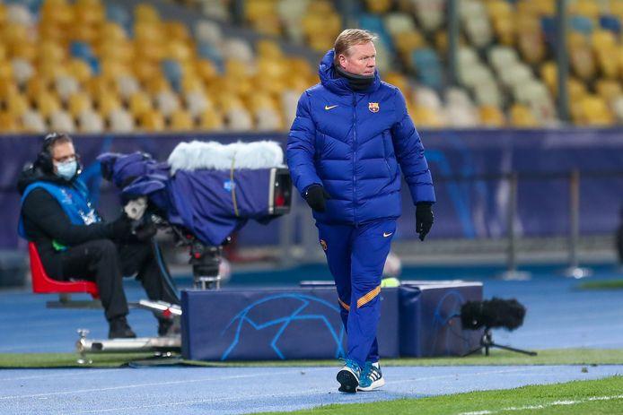 Ronald Koeman tijdens het duel met Dinamo Kiev in de Champions League.