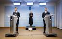 2021-01-12 19:00:19 DEN HAAG - Premier Mark Rutte en minister Hugo de Jonge (Volksgezondheid, Welzijn en Sport) geven tijdens een persconferentie een toelichting op de coronamaatregelen in Nederland. ANP BART MAAT
