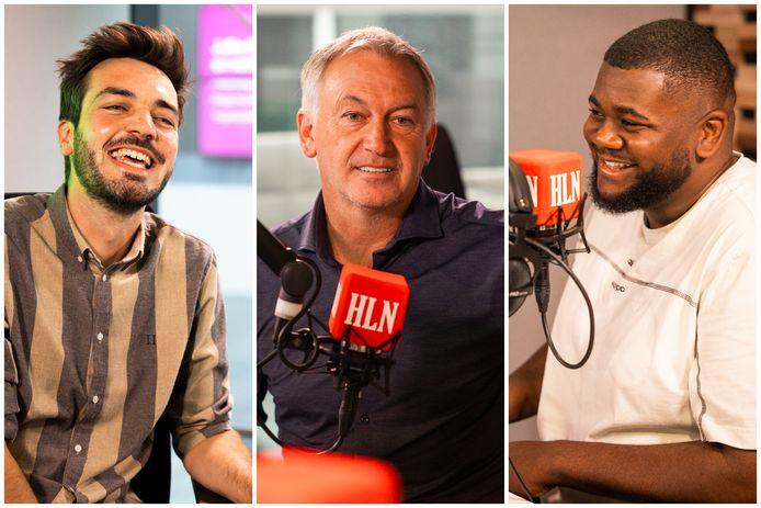 Host Jonas Decleer, analist Marc Degryse en CL-addict Gilles Mbiye Beya.