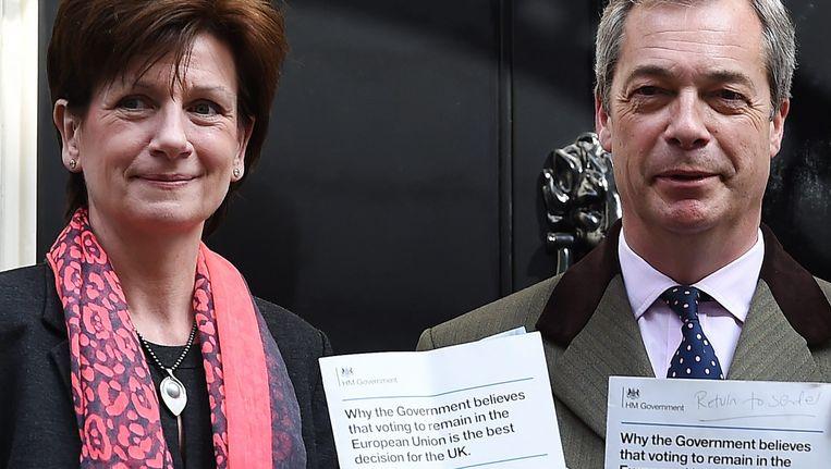 Archieffoto van Diane James en Nigel Farage. Beeld EPA