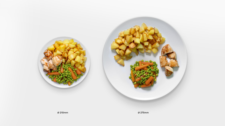 De Delboeuf-illusie: op een groter bord lijken de hoeveelheden eten kleiner. Beeld Hak