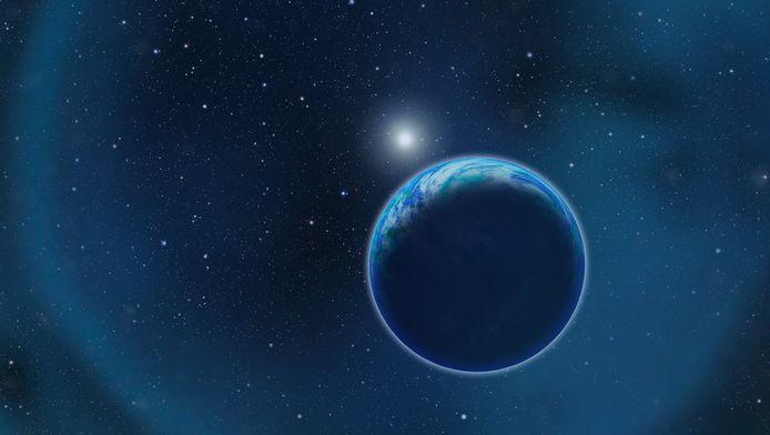 Een artist impression van een bewoonbare planeet vlakbij een witte ster`